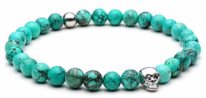Nature bead for Men + Skull Charms colorful beads bracelet