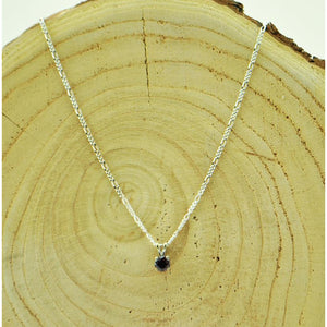 Round Cut Garnet with Sterling Silver Chain