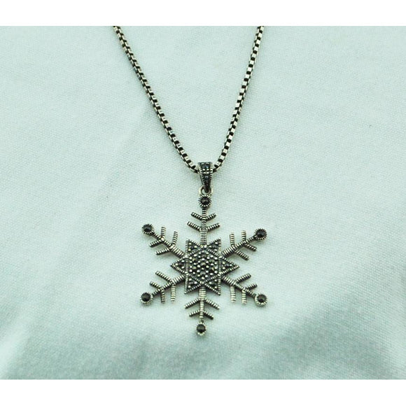 Silver Star and Snowflake Necklace