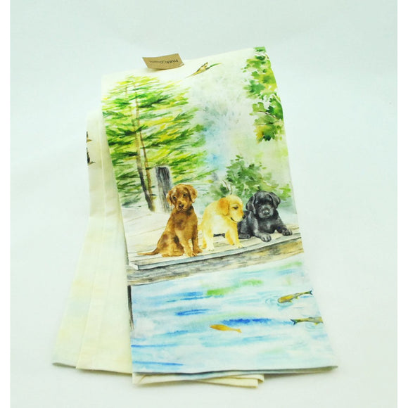 Labs on a Dock Cotton Dish Towel