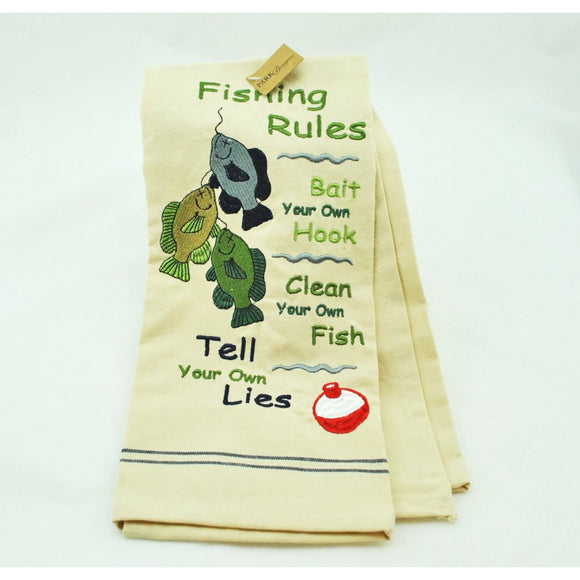 Fishing Rules Embroidered Dish Towel
