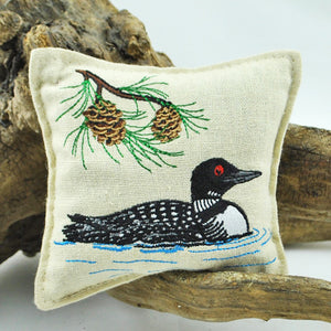 Embroidered Loon Balsam Pillow
