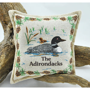 The Adirondacks Loon With Chick Balsam Pillow