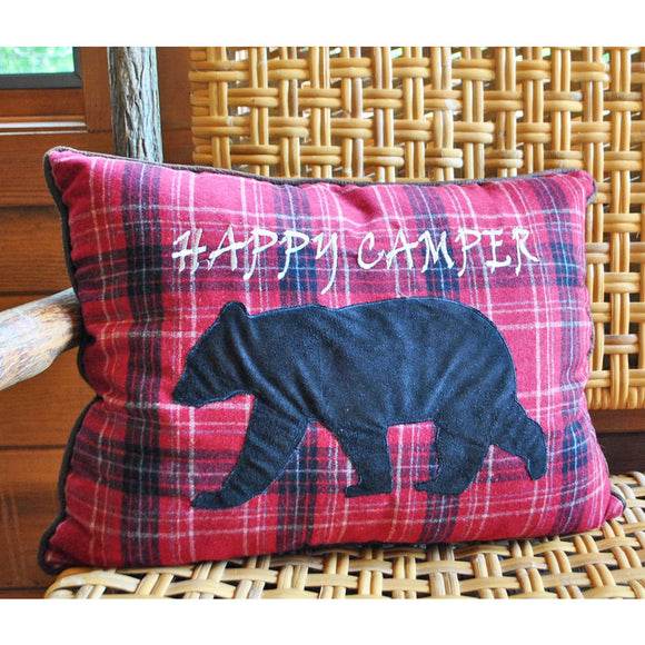 Happy Camper Plaid Throw Pillow