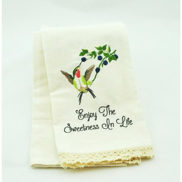 Enjoy the Sweetness in Life Embroidered Dish Towel