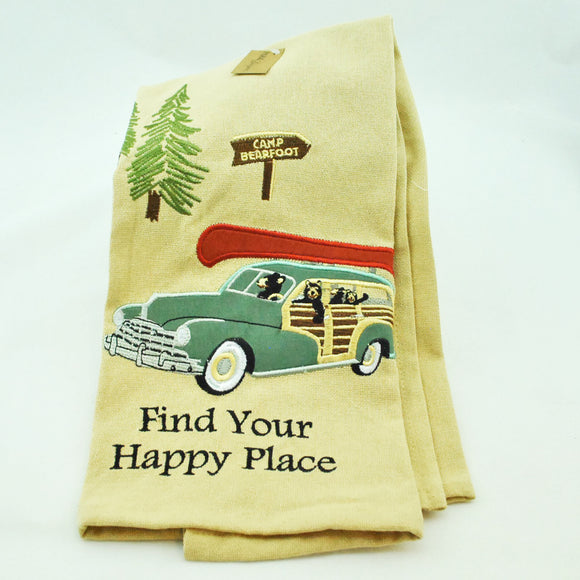 Find Your Happy Place Embroidered Dish Towel