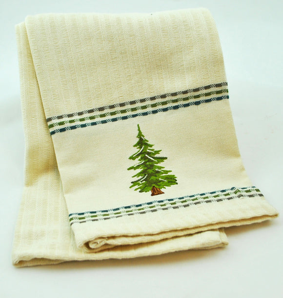 Embroidered Fir Tree Dish Towel