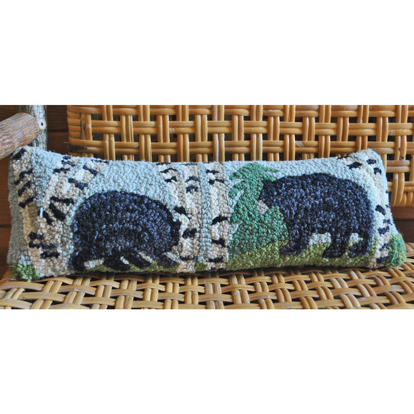 Bear in the Woods Hooked Wool Pillow