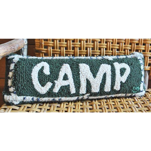Camp Birch Boarder Hooked Wool Pillow