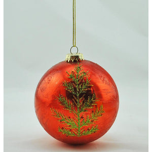 Glass Ball with Tree Ornament