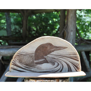 Loon in Swirls Fungus Etching