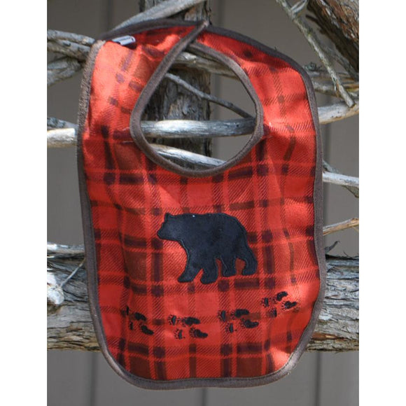 Red Plaid Baby Bib with Bear