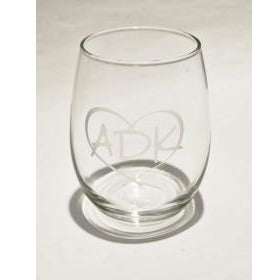 Love is in the Adirondacks Stemless Wine Glass