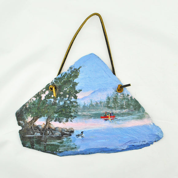 Canoe and Loon Hand Painted Slate