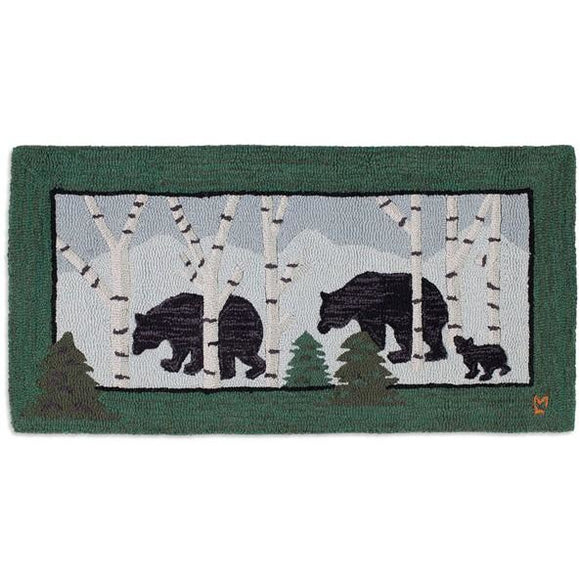 Bears in Birches Hooked Wool Rug