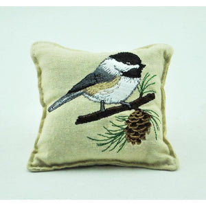 Embroidered Chickadee Balsam Pillow