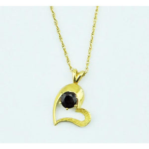 Gold Heart Pendant with Garnet Necklace