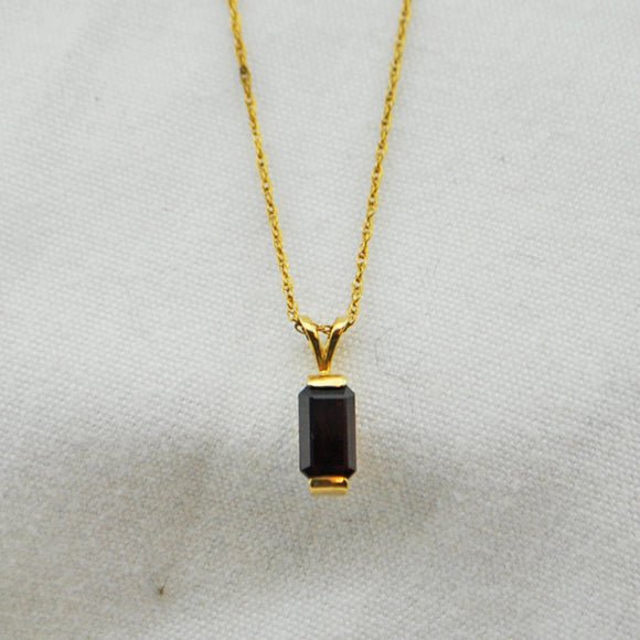 Emerald Cut Garnet with Gold Chain