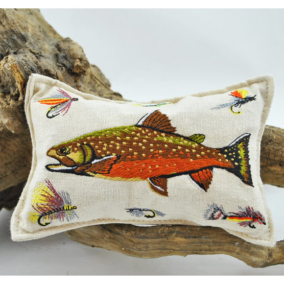 Embroidered Trout Balsam Pillow