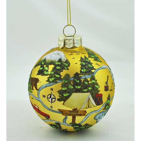 Camping Glass Ball Ornament
