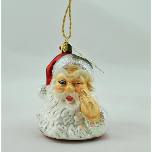 Santa Winking Glass Ornament