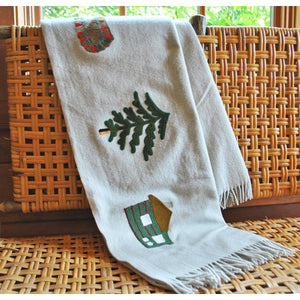 Wool Throw Blanket with Lodge Design (3 Designs Available)