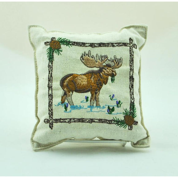 Embroidered Moose Balsam Pillow