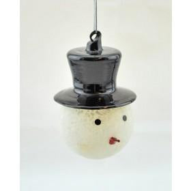 Snowman with Hat Glass Ornament