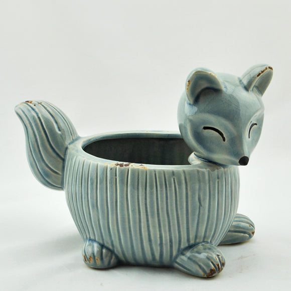 Blue Ceramic Fox Planter