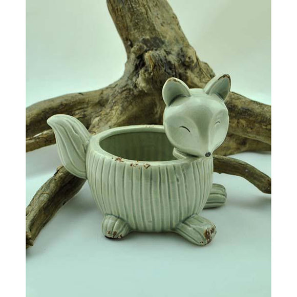 Grey Ceramic Fox Planter