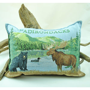 """The Adirondacks"" Bear, Moose, and Loon Balsam Pillow"