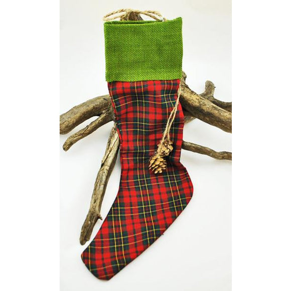 Plaid Stocking with Pine Cone