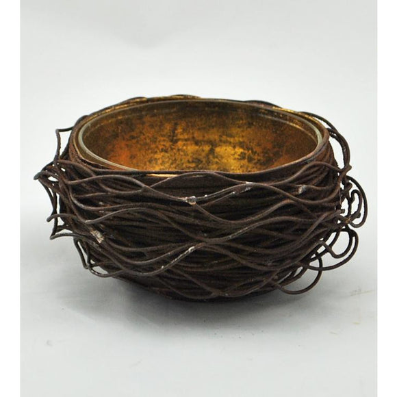 Gold Leafed Bird Nest Sugar Bowl
