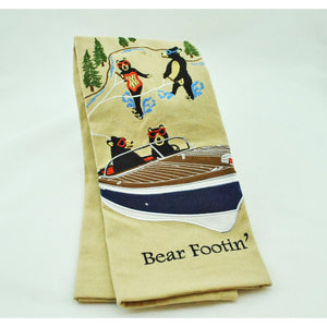 Bear Footin' Embroidered Dish Towel