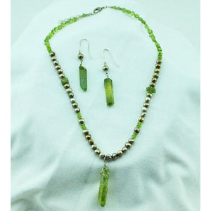 Peridot and Pearls Necklace and Earrings Set