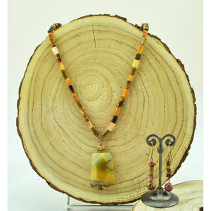 Tiger Eye and Agate Necklace/Earring Set
