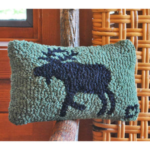 Moose Hooked Wool Pillow