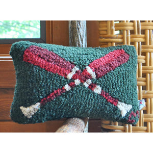 Crossed Red Paddles Hooked Wool Pillow