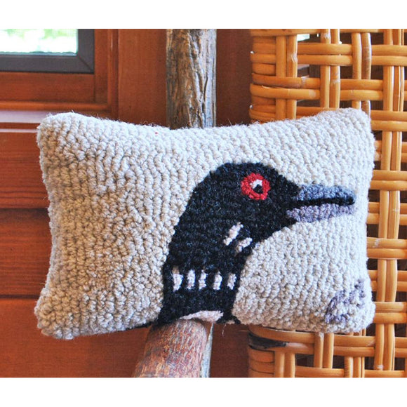 Loon on White Hooked Wool Pillow