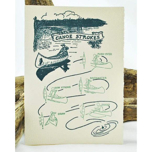 Canoe Strokes Single Note Card
