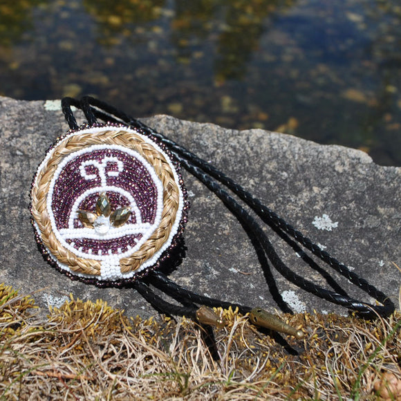 Beaded Bolo Tie with Sweetgrass