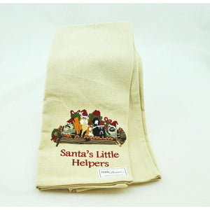Santa's Little Helpers Embroidered Dish Towel
