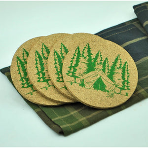 Camping Theme Cork Coasters