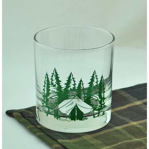 Camping Theme Rocks Glass