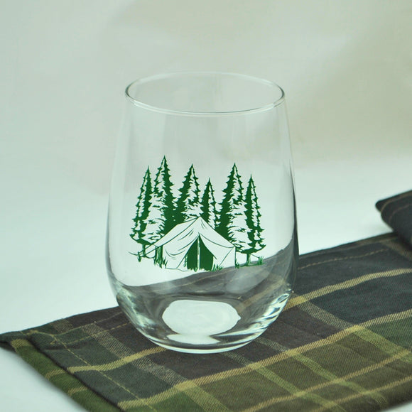 Camping Theme Stemless Wine Glass
