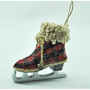 Plaid Ice Skate Ornament