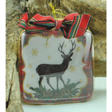 Square Glass Ornament with Plaid