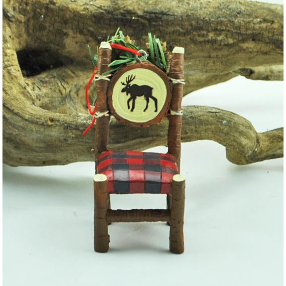 Plaid Moose Chair Ornament