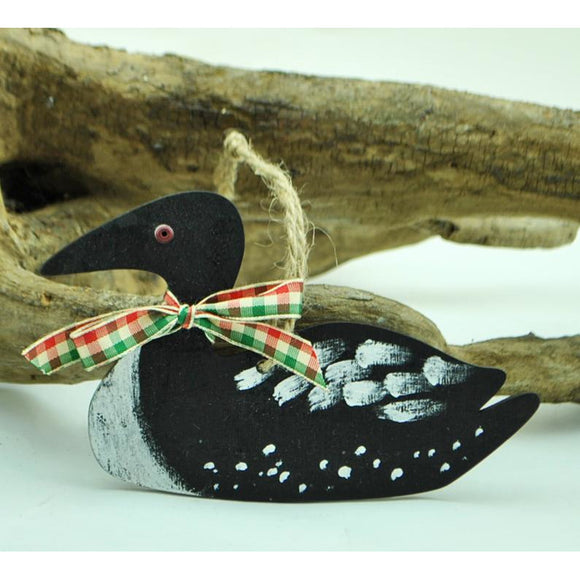 Hand Painted Wooden Loon Ornament
