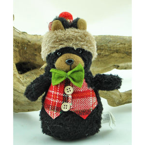 Stuffed Bear with Vest Ornament